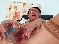 Kaja is one lusty nurse who desperately needs a quick masturbation