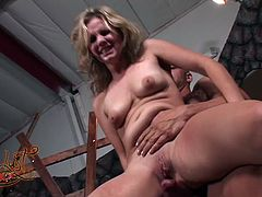 Trashy porn actress Brown is riding Derricks solid prick in cowgirl position. While jumping intensively she gets her butt hole stuffed with finger.