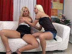 See how you get a boner with this hot lesbian scene as these horny blonde babes please each other with sex toys as you them moan.