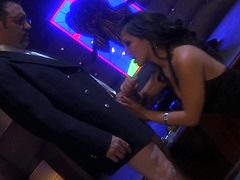 Leggy Gianna Lynn talks to some gentleman in a suit. Then she drops to her knees. This sizzling babe sucks and strokes a dick skillfully. In addition this Asian babe also licks balls and takes cum in her mouth.