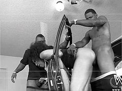 One ebony lady really knows, how to have fun and also please her partners. She bends over the car opened window and begins sucking dick, while the other guy unzips his pants, and starts without any delay to fuck her ass. After the action moves inside the house, things become even more intense! Click to see!