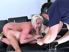 Marvelous Sadie Swede is showing us her working day, with a lot of cameras around her and dudes who are filming she is doing her fucking job, sucking and having her vagina raped.