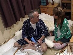 Adorable Ayumi Takanash takes off her clothes to impress the old man. This pigtailed babe is so hot that even such an old dick gets hard. Ayumi gets fucked in her incredible pussy in various positions. This man is very experienced, that is why she gets pleasured enough.