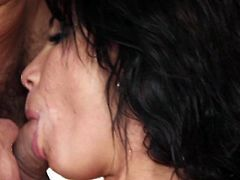 Dirty porn with cock sucking brunette