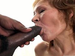 Although she is an old woman she still loves to fuck and she needs at least three black cocks to satisfy her hunger for sex. She gets her pussy filled with pretty big cock but she has two more throbbing cocks to handle in this hot gangbang sex video.