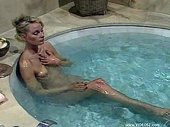 Helene Shirley and Dominique Saint Claire chill in a hot whirlpool. Of course these girls also have a lesbian sex. It is hard to resist the temptation when another nude girl is so close to you.