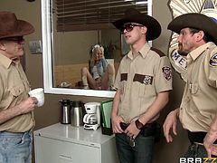 milf gets gang banged at the sheriff's office