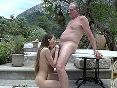 Nasty young babe tricks old man for hardcore fuck
