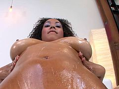 This slutty ass fuckin' ebony whore sucks on a hard cock and fuckin' gets it shoved balls deep into her fuckin' snatch. Check it out!