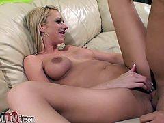 Horny freak assists this voracious light haired chick with big tits to please her. She rubs her clit with big sex toy and he fingerfucks her thirsting pussy meanwhile. Enjoy this hot chick in My XXX Pass porn video!
