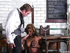 Danny D admires enchanting Jasmine Webbs body before she takes his love stick in her bush