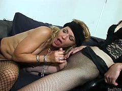Horny blonde is banged by shemales in a