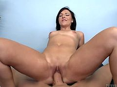 Sizzling brunette girl wraps massive dong with her mouth lips doing her best to perform extreme deepthroat blowjob but the cock appears to be too big for her. After sucking hard stick she humps on top in cowgirl position.