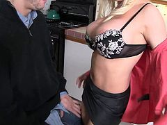 Witness this clip where a blonde cougar, with gigantic boobs wearing a miniskirt, gets drilled hard after getting her pussy licked.