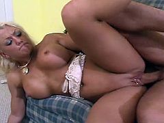 Sweet blonde babe takes on young big dick in this tube video.