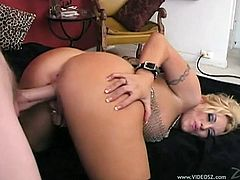 Get a boner watching this blonde chick, with big tits wearing leather boots, while she touches herself and gets fucked hard in a POV video.