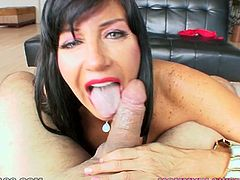Naughty and sexy MILF Tara Holiday loves sucking big cocks. She shows her amazing tits to camera, kneels down and gives her BF great blowjob.