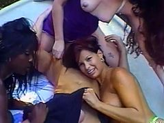 Linda Diego, Caroline Pierce and one more horny slut are getting naughty with a man outdoors. The bitches lick each other's twats and then allow the man to fuck their holes.