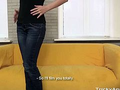 Cute teen babe Alla got seduced by the Tricky Agent and she is down for her very first porn video. Watch as she takes this cock deep into her tight shaved pussy.