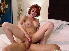 Horn-mad cougar jumps on top of solid prick in reverse cowgirl position. Later on Alan Stafford bangs wet pussy in a sideways position. Check out extremely exciting porn video presented by Naughty America.