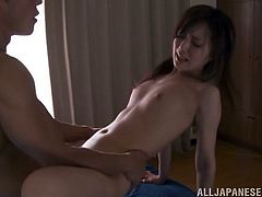 Sweet Japanese chick Kaede Fuyutsuki lets some horny guy eat her pussy. Then they fuck in missionary and cowgirl positions and Kaede can't help but moan with pleasure.