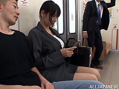 A big breasted Japanese girl gets seduced in a subway. Several guys touch her juicy boobs and vagina. Horny Haruna gets fucked and also facialed.