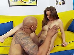 Cute brunette spreads legs wide open and enjoys watching bald headed dude who gives her good tongue job. He licks her hairy pussy like greedy for lady juice.