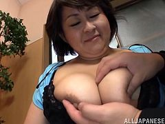 A Japanese BBW takes off her t-shirt and a bra. This fat Asian woman gives a blowjob and a titjob in a POV video. It should be noticed that the woman is very skillful and experienced.