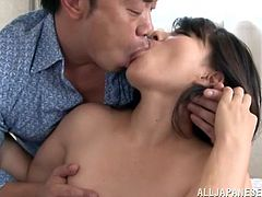 A stunning Japanese MILF kisses a guy. Yukina gets her tits and bald cunt licked. Then this woman gets fucked doggystyle.
