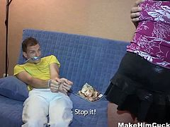 Sexy brunette teen with lovely tits and shaved pussy brings a hot friend after ties his hands and feet with duct tape.See how this sexy babe getting her cunt fucked like a whore and getting his cum in her mouth.