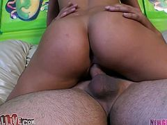 Hayley Sweet can hypnotize any man with her big spankable ass. She rides her boyfriend's stiff cock passionately making her fine ass shake like jello.