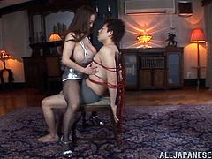 She ties him up and rides his big Japanese dagger