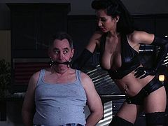 When her man leaves the house, Miss Love turns from a nice housewife into a mean, dirty mistress. She puts on her black leather boots and her mistress outfit and goes wild. That's more like it! Damn! This bitch is fucking crazy! Look what she does to the guys that ring her door, until her husband caught her!