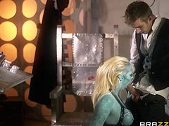 Doctor Who has traveled through space and time just so he can get his dick wet. He encounters a sexy green alien chick and knows he has to fuck her hard. He fucks her from behind and then she pulls his cock between his legs and sucks him off from behind! She sucks him so more facing forward; then he cums.