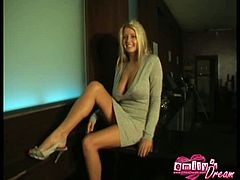 Emily strip teasing on camera. Emily went for a job interview at her local bar when she heard they were hiring. Since nobody had arrived yet, she decided to dump her clothes.