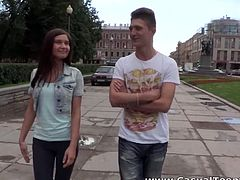 This is not her first time when she takes guy's dick in her tight pink pussy. Horny dude pounds her tight snatch mercilessly in and out pushing her to the edge of powerful orgasm.