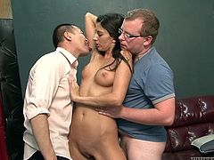This long haired brunette chick gets her armpits and muff licked by two kinky guys. They are ready to lick her body all night long. Just go for exciting threesome sex video right now.
