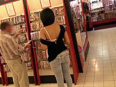 Ever thought there are girls who don´t hesitate uncovering their tits and even butt in exchange of some money? Pay attention at this young lady caught in a shop. She lets the cameraman touch her small tits. Next, watch how she gets persuaded to show her ass to the camera and take off her panties.