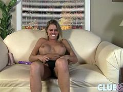 Charisma Cappelli is a busty blonde who loves to masturbate and to film herself teasing at the camera. She also has a dildo that she deepthroats instead of fucking herself with it.