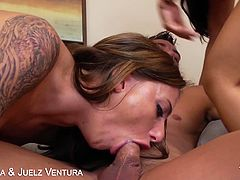 Eat Sleep Porn brings you a hell of a free porn video where you can see how the horny Asian brunette Asa Akira and her friend Juelz Ventura share a very hard cock and also get creamed.