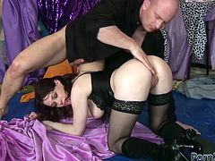 Horny dude tries to please that ever thirsting brunette chick in black stockings. He presented her moist vagina fancy fisting in sideways pose and hard fuck in doggy style. Just watch that hot fuck in Porn XN sex video!