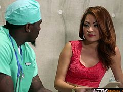 Make sure you don't miss the petite Asian MILF Kim Blossom involved into some hardcore banging in the hospital. A black doctor sticks his big rod in her tight muff.