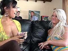 Rikki White and Cayden Moore drink wine and talk while their boyfriend play a pool. After some time both chicks get fucked rough in their pussies and mouths.