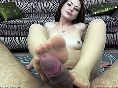 Long and fair haired whorish harlot used her feet o fuck her guy. It was not enough to jizz. So she had to suck it as well. Look at this nice fuck in My XXX Pass porn video!