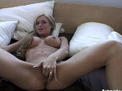 Busty blonde chick shaves her legs in a bathroom. Then she give a blowjob & handjob combo to her boyfriend and gets her pussy licked. The girl also gets fucked in a missionary position.