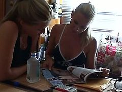 Lunch with two sexy blonde girlfriends Sandy and Sophie Moone at their home