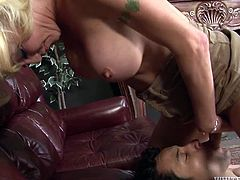 Blonde lady boy gets her smooth soles licked sensually. Then she gets her big boobs suckled passionately. A bit later she facesits her lover upskirt.