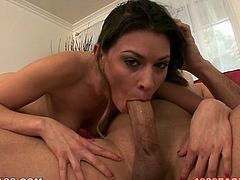 Victoria Lawson is a gorgeous, very sexually charged hottie with charming eyes. This cock crazed beauty knows what oral sex is all about. She sucks her lover's meaty cock greedily like crazy.