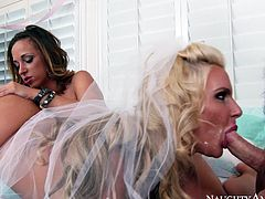 Horny bride Phoenix Marie asks her friend to join them for a threesome. Cock crazed bombshells suck Johnny Castle's cock with great enthusiasm. These chicks will get your dick hard in a blink.