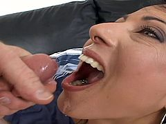 This brunette sucks dick and gets her fucking gash stuffed with fuckin' cock then takes the goo in her stupid whore mouth!